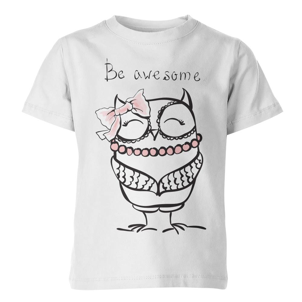 белая детская футболка be awesome 2